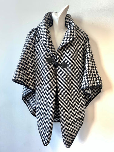 Black & White Houndstooth Cape