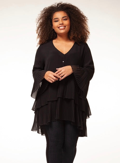 Lantern sleeve tunic v-neck blouse - CURVY