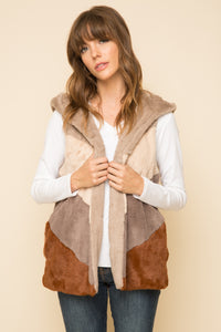 Color block fur vest