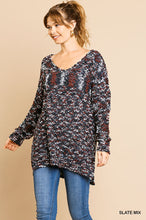 V-neck pullover tunic sweater