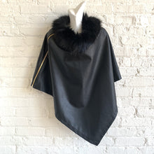 Fur collar vegan leather poncho with zipper detail
