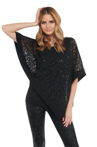 Sequin Lace Asymmetric Top