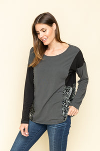 Long sleeve top with side velvet panels