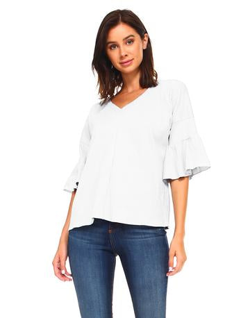 V-neck designer top with elbow bell sleeve