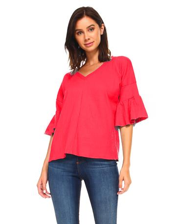 V-Neck strawberry top with elbow bell sleeve