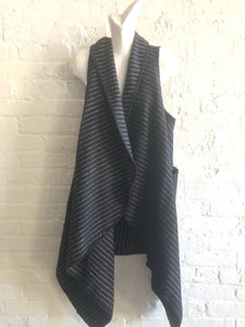 Black pinstripe vest with pockets