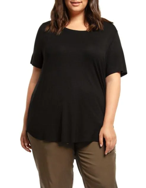 Dex relaxed scoop neck tee with hi low hem-CURVY