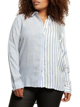 Lightweight blue and white striped top - CURVY