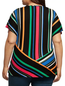 Short sleeve stripe top - CURVY