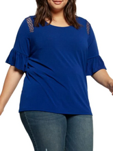 Deep sea blue ruffle sleeve top-CURVY