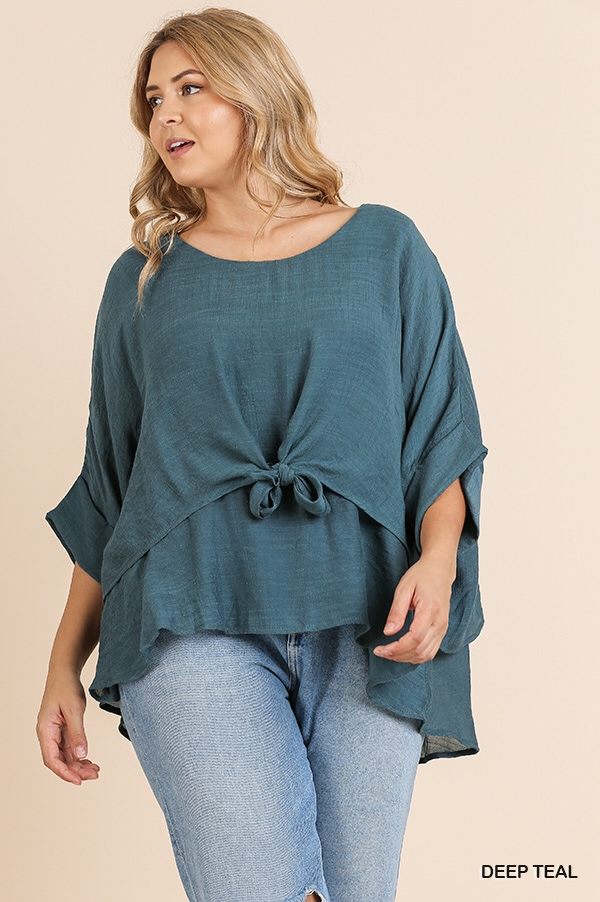 Deep teal layer top with front tie-CURVY