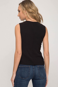 Woven sleeveless top with front twist