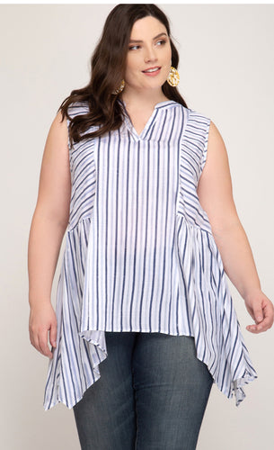 Sleeveless Striped V-Neck Top - CURVY