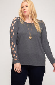 Round Neck Top with Strappy Sleeve Detail - CURVY