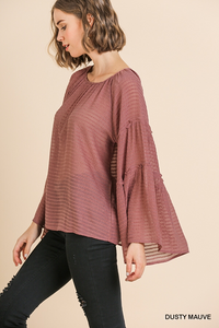 Dusty Mauve Flare Sleeve Too
