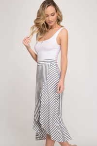 Striped woven skirt with front wrap detail