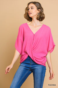 Crossbody v-neck top with dolman sleeves