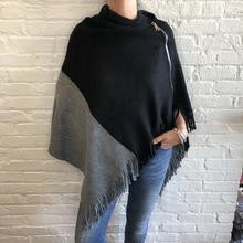 Grey and black color block poncho with zipper