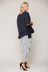 Asymmetrical Ruffle Hem Top with Side Tie Detail