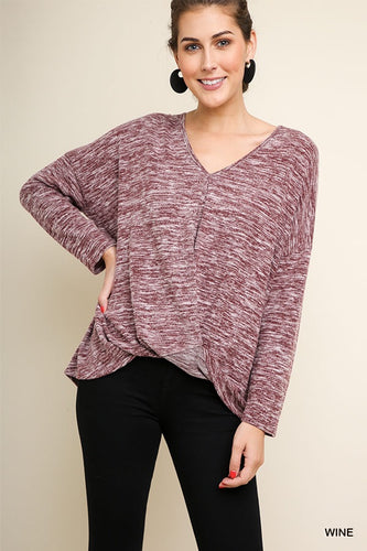 Heather knit top with gathered waist