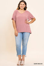 Split tulip ruffle sleeve top