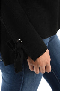 Tie Sleeve Black Sweater