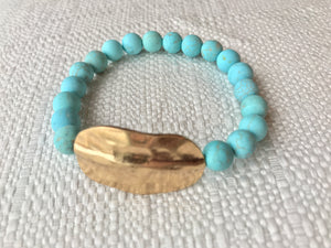 Teal Beaded Bracelet with Gold Distressed Metal