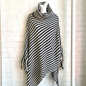 Black and white turtleneck poncho