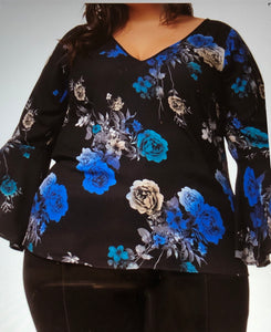 Bell sleeve floral print v-neck top - CURVY