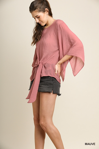 Split angel sleeve top with center tie
