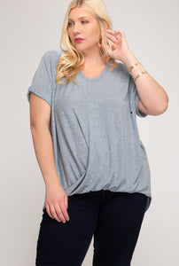 Short Sleeve Surplice Knit Top - CURVY