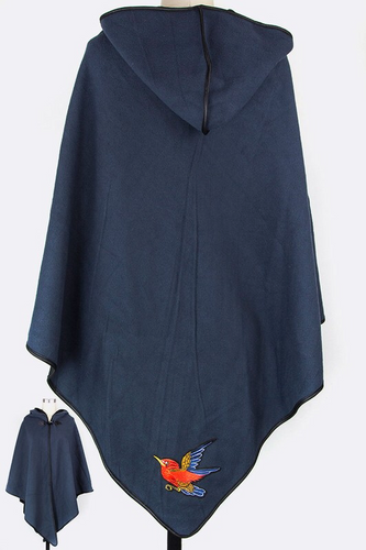 Hummingbird embroidered fleece hooded cape