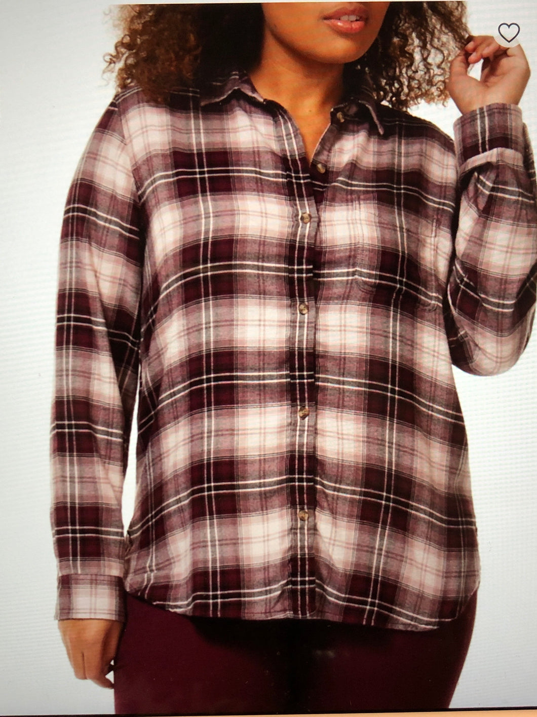 Long sleeve plaid button front top - CURVY