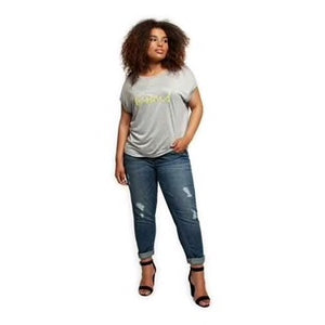 Distressed rolled denim jeans-CURVY