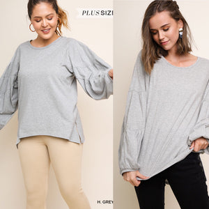 Puff Sleeve with hi-low hem-MISSY AND CURVY