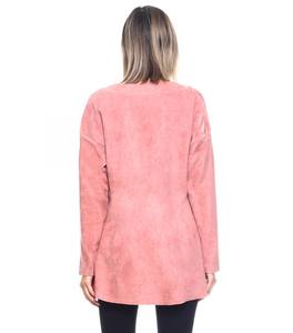 Suede v-neck top with long sleeves