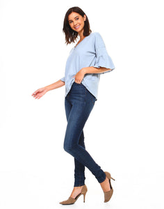 V-Neck denim blue top with elbow bell sleeve
