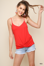Red tank with gathered front knot