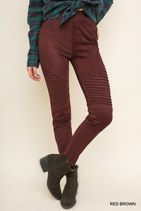 High waist suede moto jegging with ankle zipper