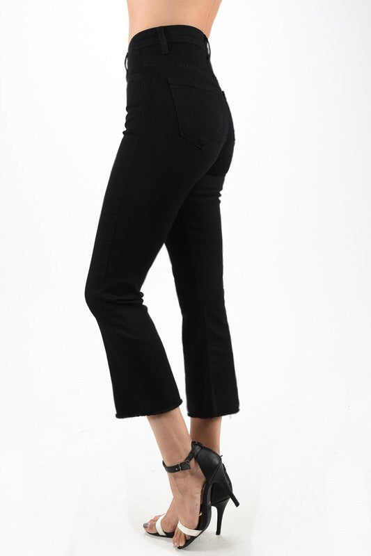 Cropped flare pant-black-Judy Blues