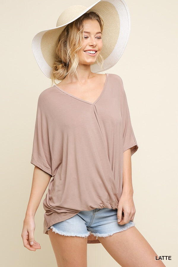 Relaxed fit top with front twist