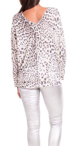 Double V-Neck Leopard Print Designer Top