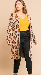 Animal print long sleeve fuzzy cardigan-ALL SIZES