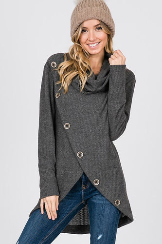 Thermal turtle neck with button detail