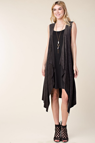 Sleeveless long vest with stone detail
