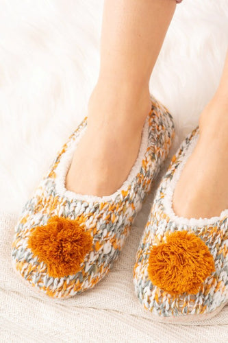 Orange/Grey slippers with Pom Pom