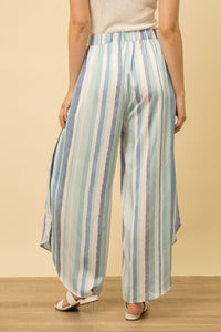 Striped Wrap Pants with Front Tie and Zipper