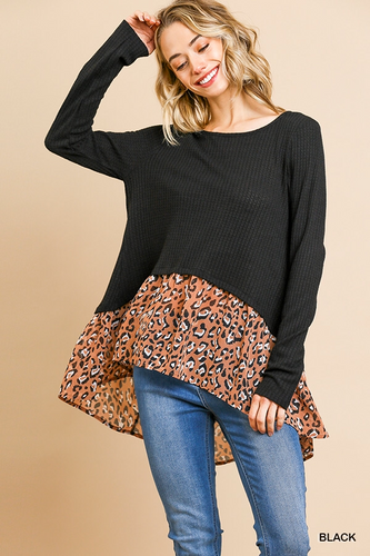 Waffle knit round neck button back layered top