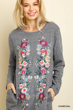 Floral embroidered heathered knit dress
