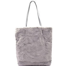Faux fur grey handbag